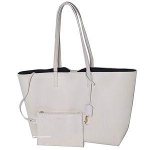 Saint Laurent White Shopping Tote